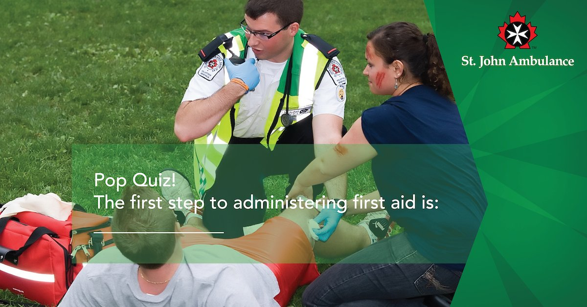 What is the first step of administering first aid?  #firstaidtraining #firstaidcourse #corporatefirstaidpic.twitter.com/1mTb7Tzxkj