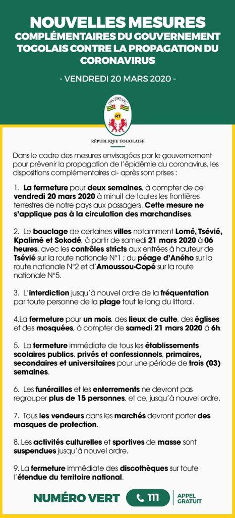 #Togo  Une réunion de crise présidée par le chef de l'Etat pour faire le point suite aux dernières évolutions constatées a pris ce jour d'importantes mesures complémentaires pour limiter la propagation de la maladie à #COVID19. https://t.co/idvqZRcRRi