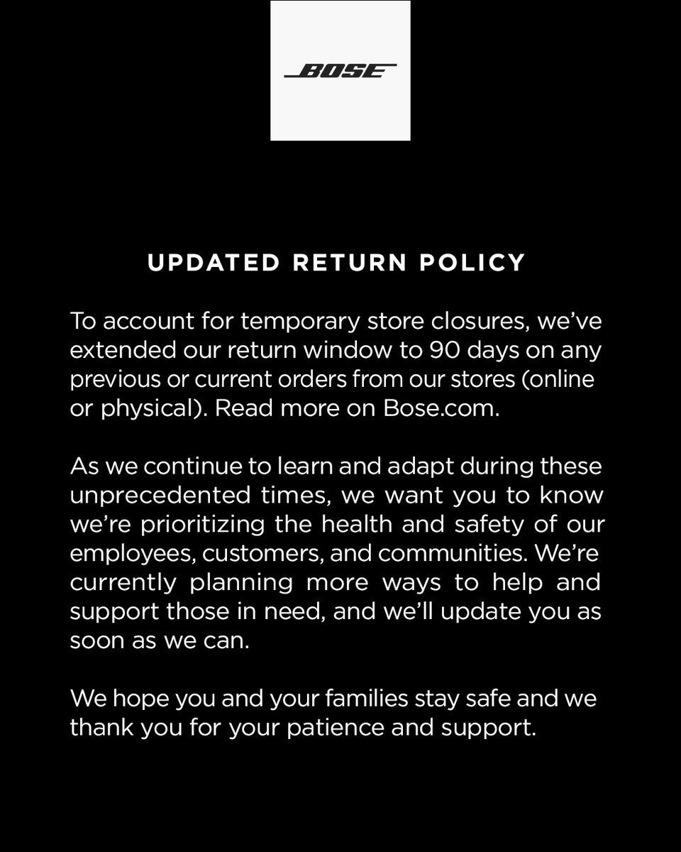 An update on our return policy.