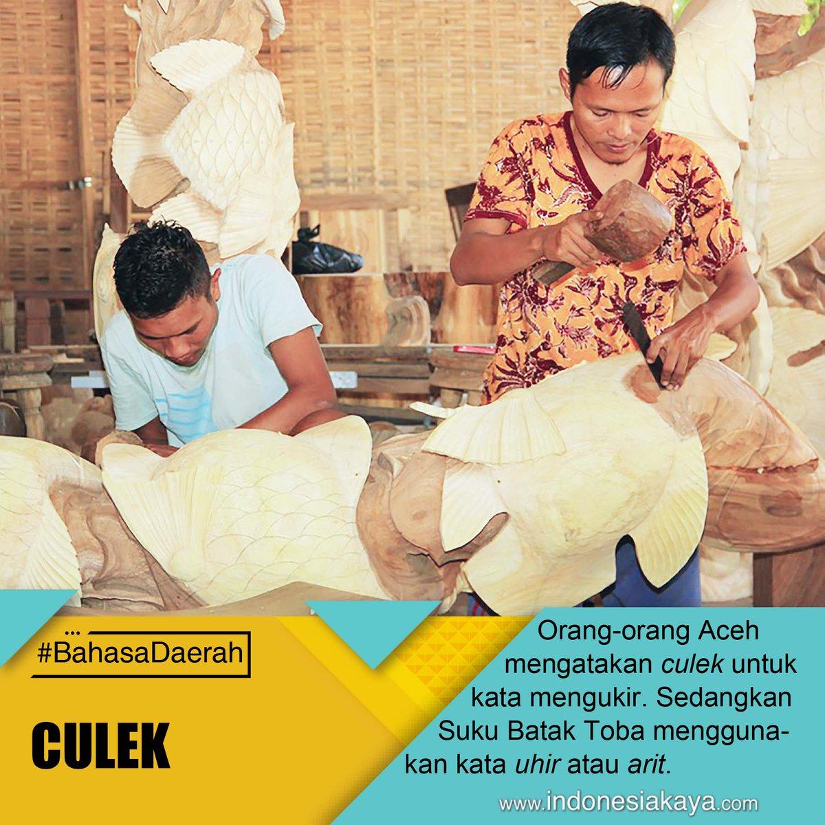 """Dalam bahasa Aceh, untuk mengatakan mengukir, kita menggunakan kata """"culek"""". Perbedaannya cukup jauh dengan bahasa Batak Toba yang menggunakan """"arit"""" atau """"uhir"""". #BahasaDaerah pic.twitter.com/5WG2yPrsl6"""