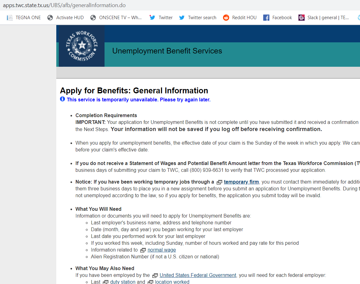 @TXWorkforce Hey there -- noticed the website is having issues again. Is this due to the increased requests?