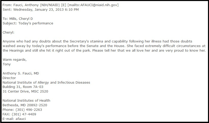 Fauci's email to Hillary