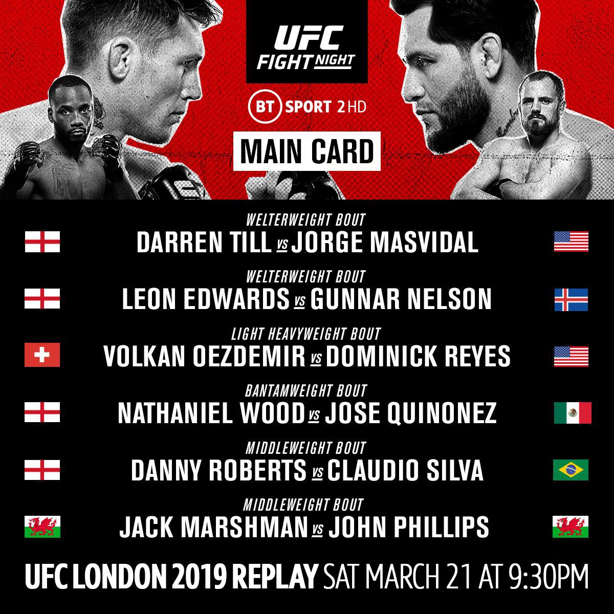 It's #UFCLondon Fight Day! 🇬🇧  Rewatch last year's epic main card tonight on @BTSport 2 at 9:30pm! https://t.co/vi0ujwyNOb