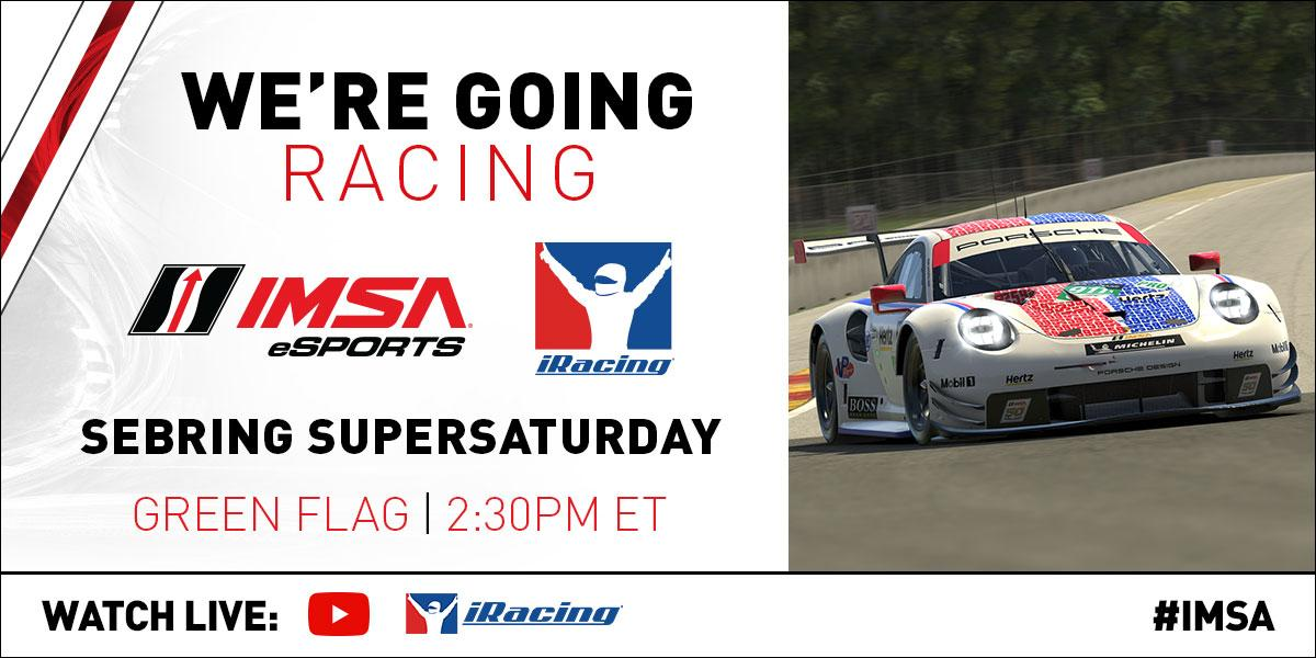 Catch your favorite IMSA drivers from your living room. Stream the Sebring SuperSaturday online race today beginning at 2:30 p.m. ET. bit.ly/2xb8kaC