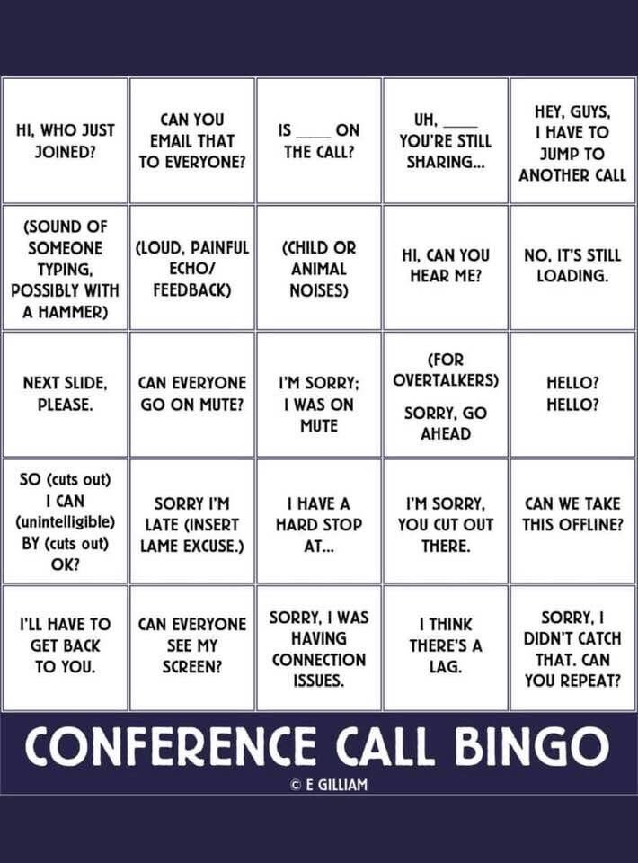 Prepping for next week's conference calls. Who wants to join me on this bingo game? #workfromhome