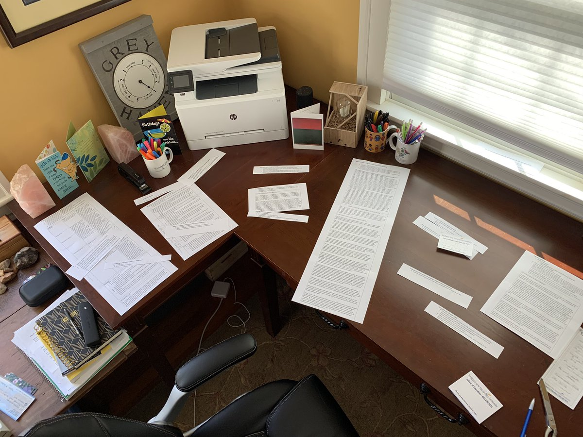 Here are notes from a chapter I'm about to write. Gotta love old school cutting and pasting! #giftoftime