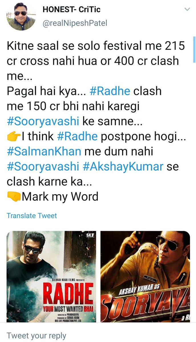 Name is HONEST and the hatred on Salmankhan continues...... He doesn't speak LOGIC and SENSE anymore ... #Radhe