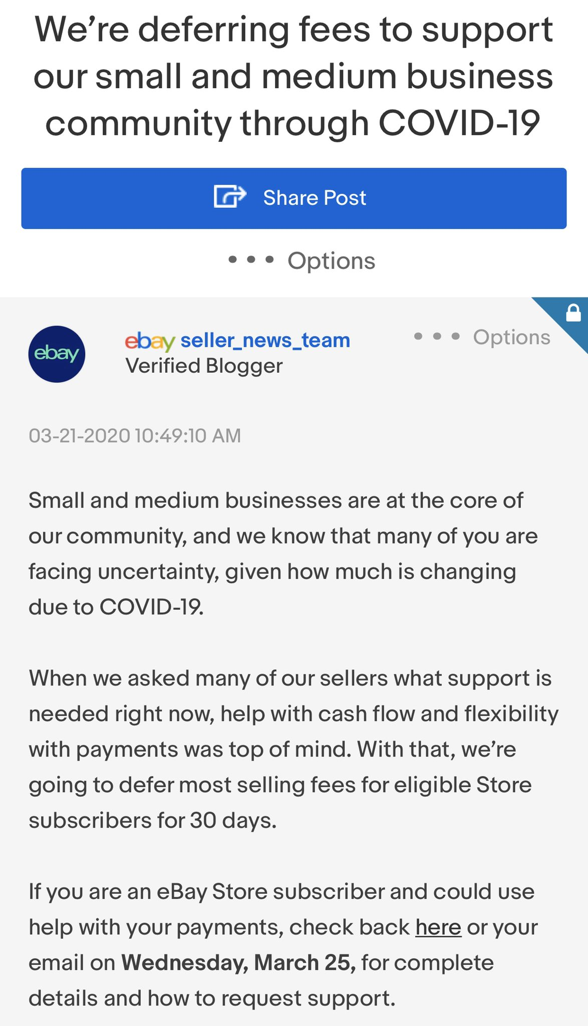 Sean Reilly On Twitter Big Announcement From Ebay Seller Fees Will Be Deferred For 30 Days If This Helps You Take Advantage Fliplife