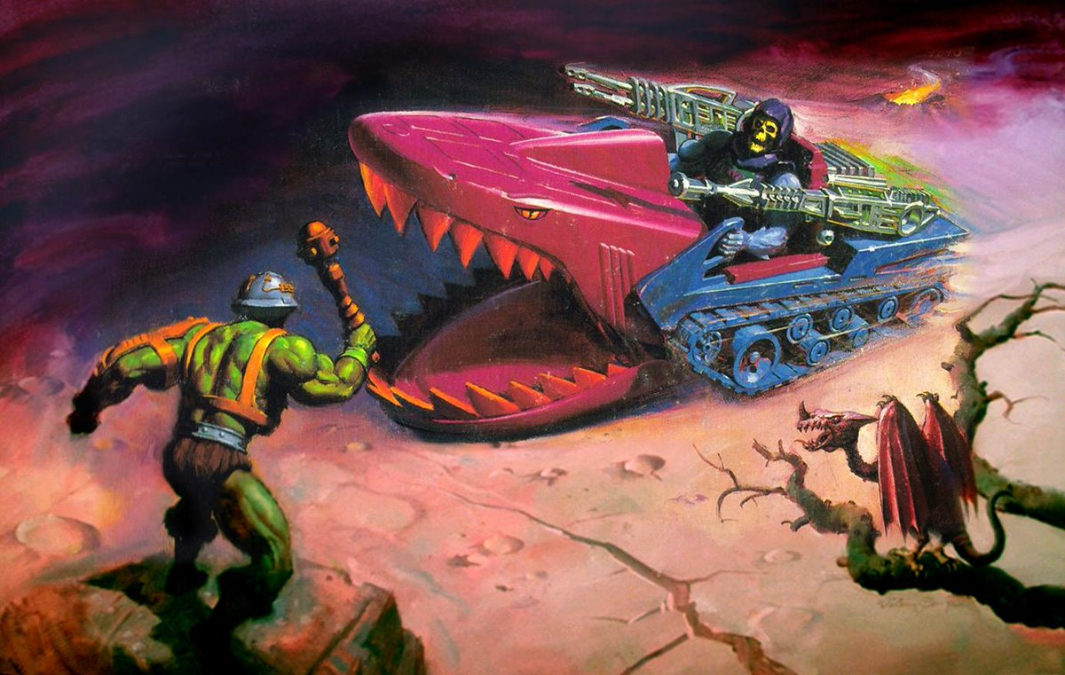 #LandShark & #BattleArmorSkeletor box art, by William George 1985 #MOTU
