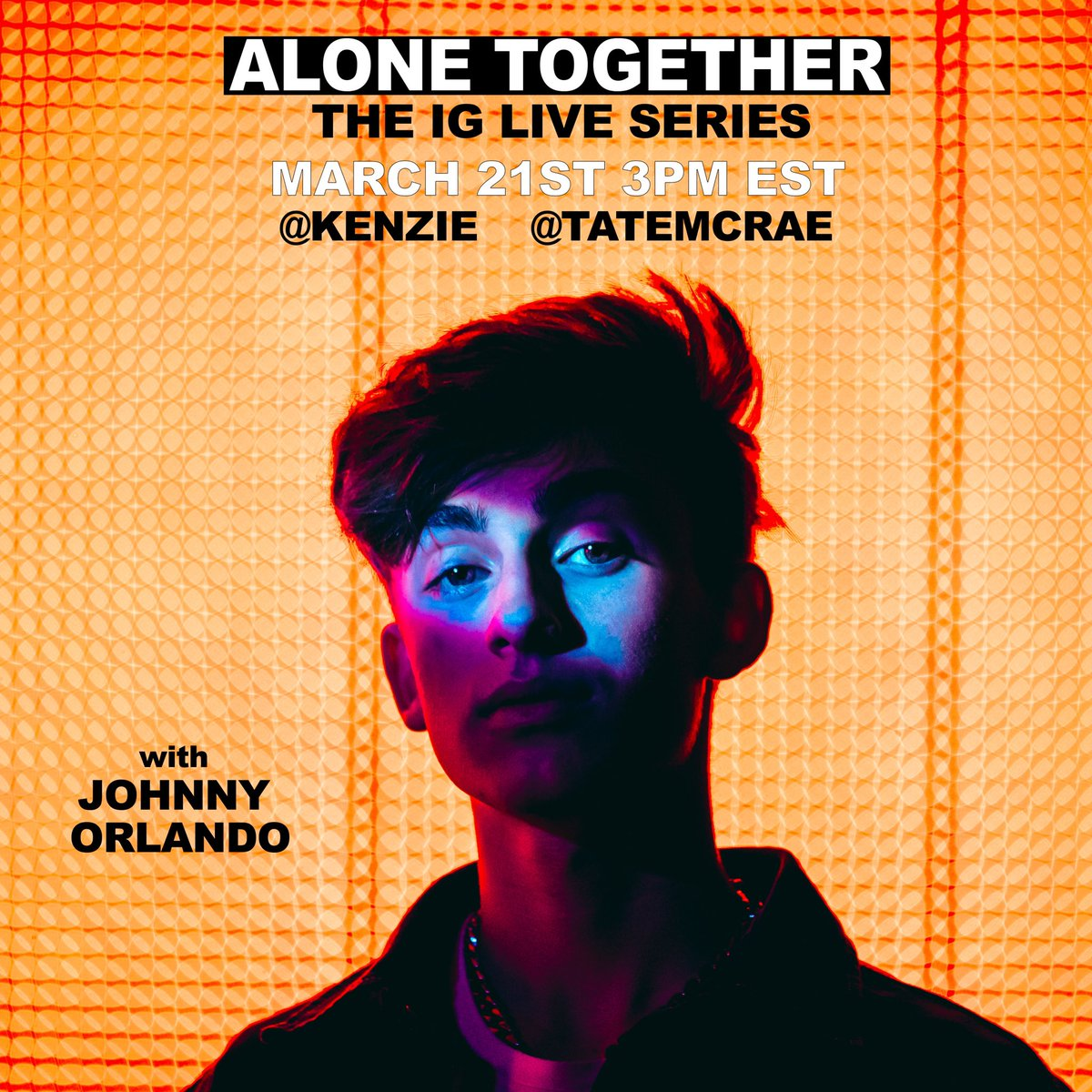 today on ig live with @kenzie & @tatemcrae at 3pm est! #AloneTogether 🥳