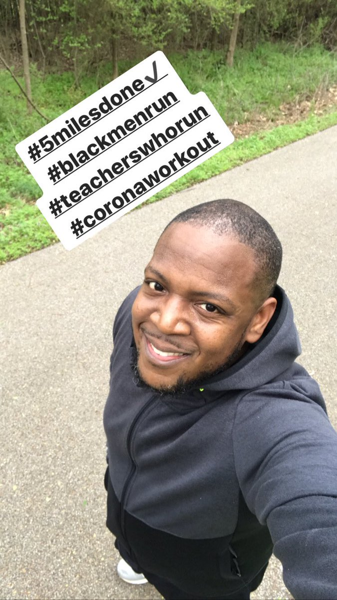 Keeping myself mentally and physically healthy. #blackmenrun #teacherswhorun #socialdistancing #coronaworkoutpic.twitter.com/uPcpcTZaBe