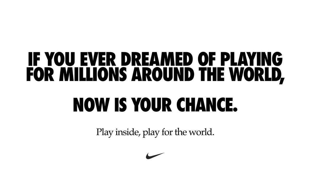 Now more than ever, we are one team. #playinside #playfortheworld