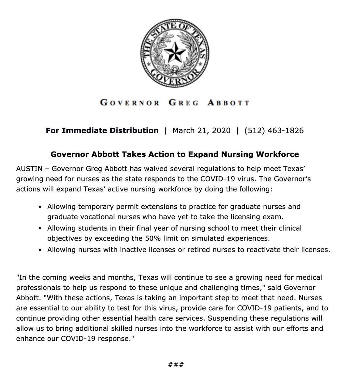 Taking action to expand the nursing workforce in Texas. bit.ly/39aJpRN