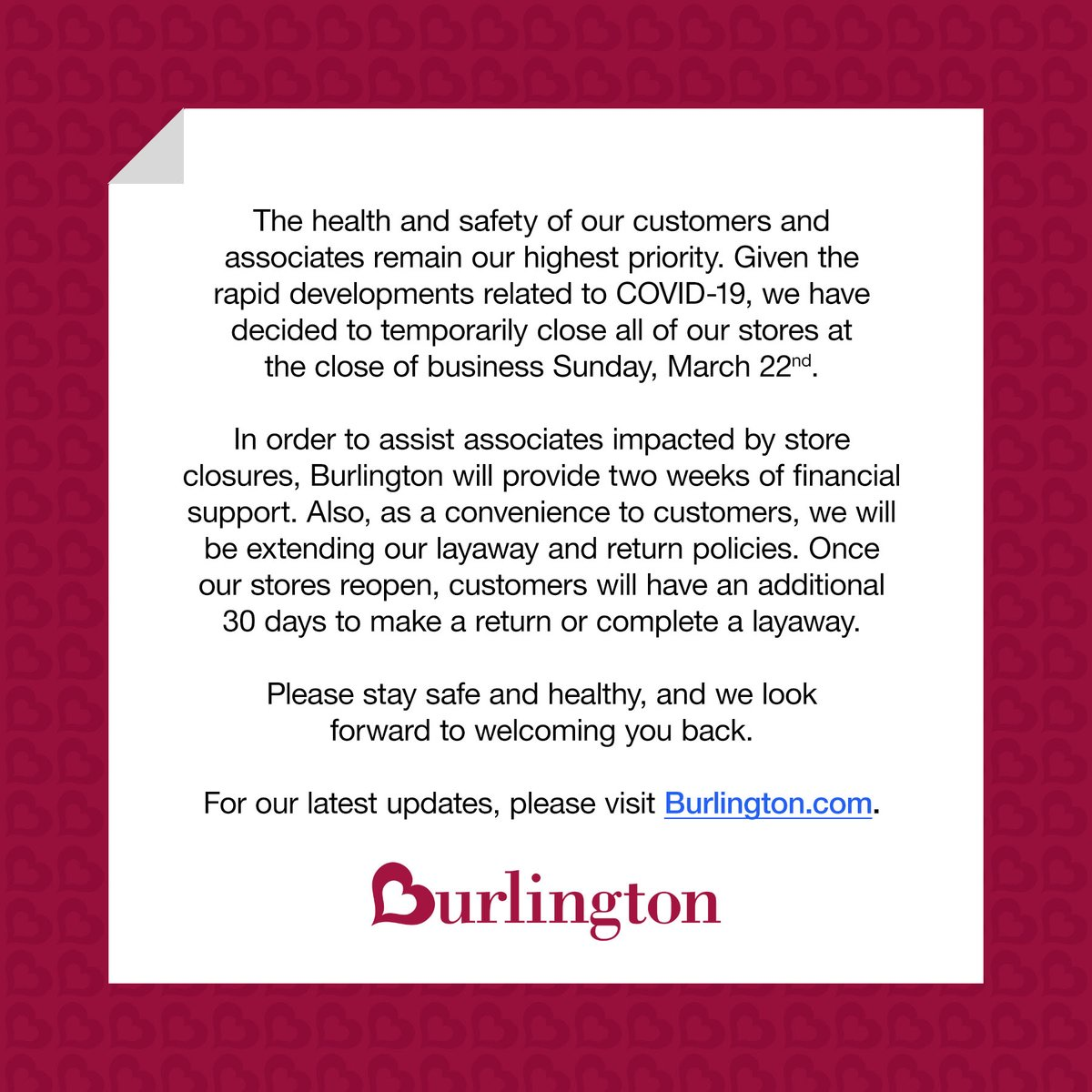 To our Burlington Family, please stay safe and healthy ♥️ For more details, click here: