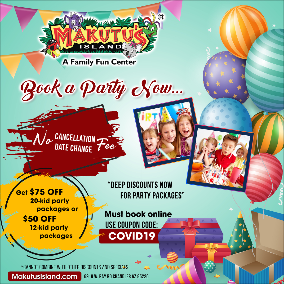 Book a birthday party now at Makutu's Island Chandler. Get $75 off on 25 kids party package or $50 off on 12 kids party packages. Must Book Online Use Code - COVID19 Visit http://MakutusIsland.com #makutusisland #Funtasticpass #funcenter #kidsplay #attractions #adventurespic.twitter.com/UVrG3gPiLm