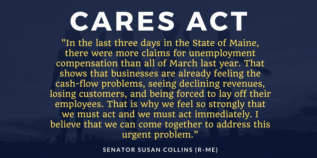@SenatorCollins on the CARES Act: bit.ly/2U56Zeo