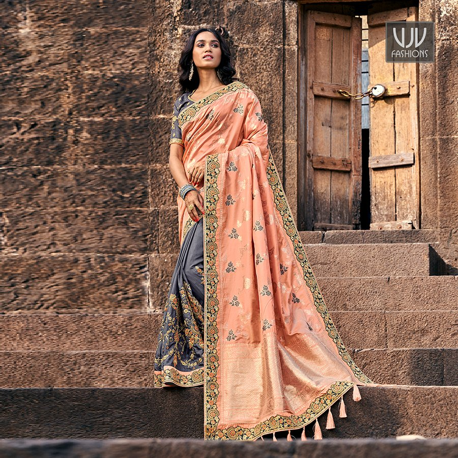 Buy Now @ http://bit.ly/2TSy8AX  . Fabulous Grey And Peach Fancy Fabric Designer Saree . Fabric - Fancy Fabric . Product No  VJV-TATH3804 . #saree #sarees #designersaree #weddingsaree #bridalsaree #silksaree #banarasisarees #netsaree #ethnicsaree #partywearsaree pic.twitter.com/IqnS2vV5qK