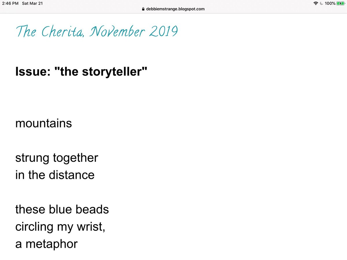 #cherita in The Cherita, November 2019 - TY to ai li for the Cherita Lighthouse Award!  #6lines #mountains #WorldPoetryDay #prayerbeads #nature http://debbiemstrange.blogspot.com pic.twitter.com/3bthcHgZ0T