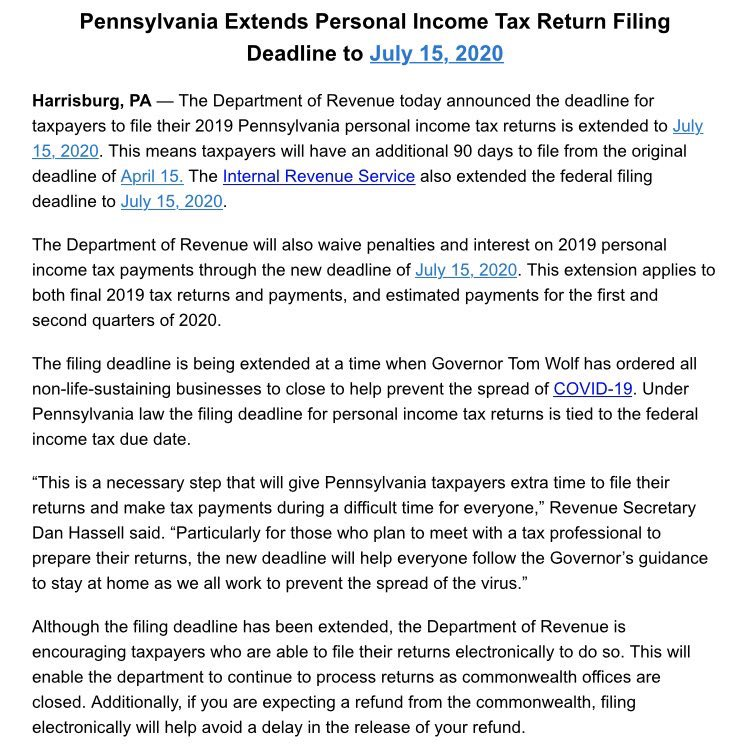 @PennsylvaniaGov extends personal income tax filing deadline to July 15, 2020