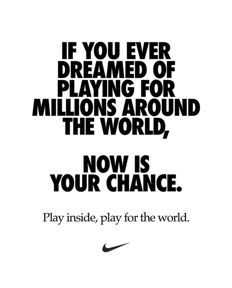Now more than ever, we are one team.. 🌍 🙏🏻 #playinside #playfortheworld