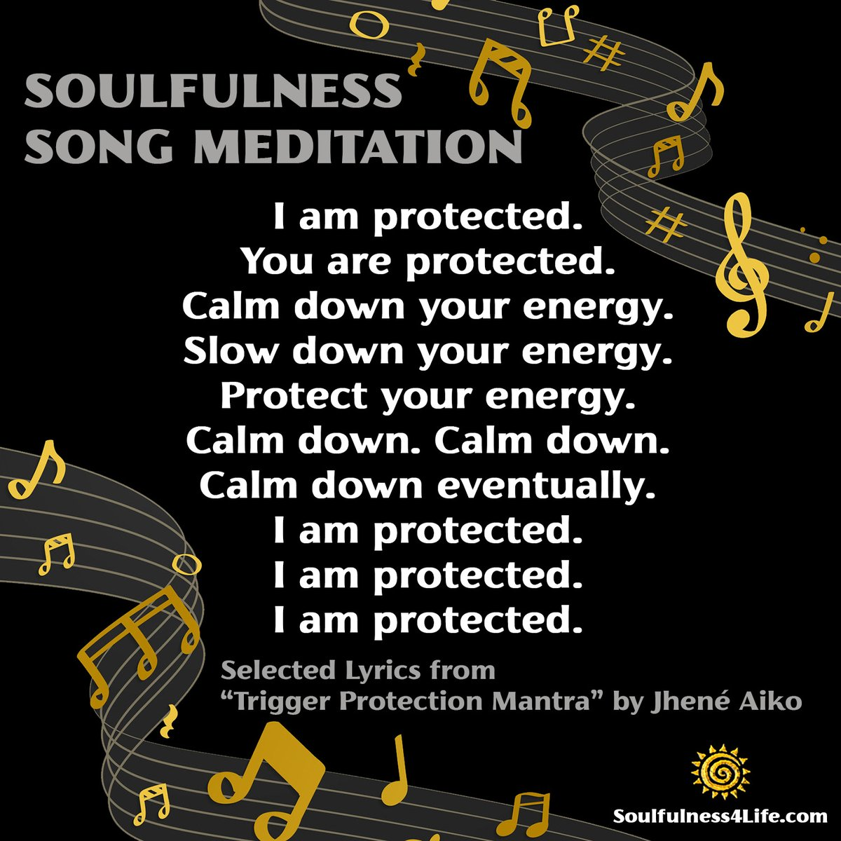 """SATURDAY SOULFULNESS: Trigger Protection Mantra by Jhené Aiko  SOULfirmation: """"I am calm, I am protected"""" https://t.co/O2xkrCWVZc  #meditation #mindfulness #healing #protection #energy #innerpeace #calm  #calmdown #anxiety #fear #wellness #stressmanagement https://t.co/PRXe64Mlhv https://t.co/DrjDlopeop"""