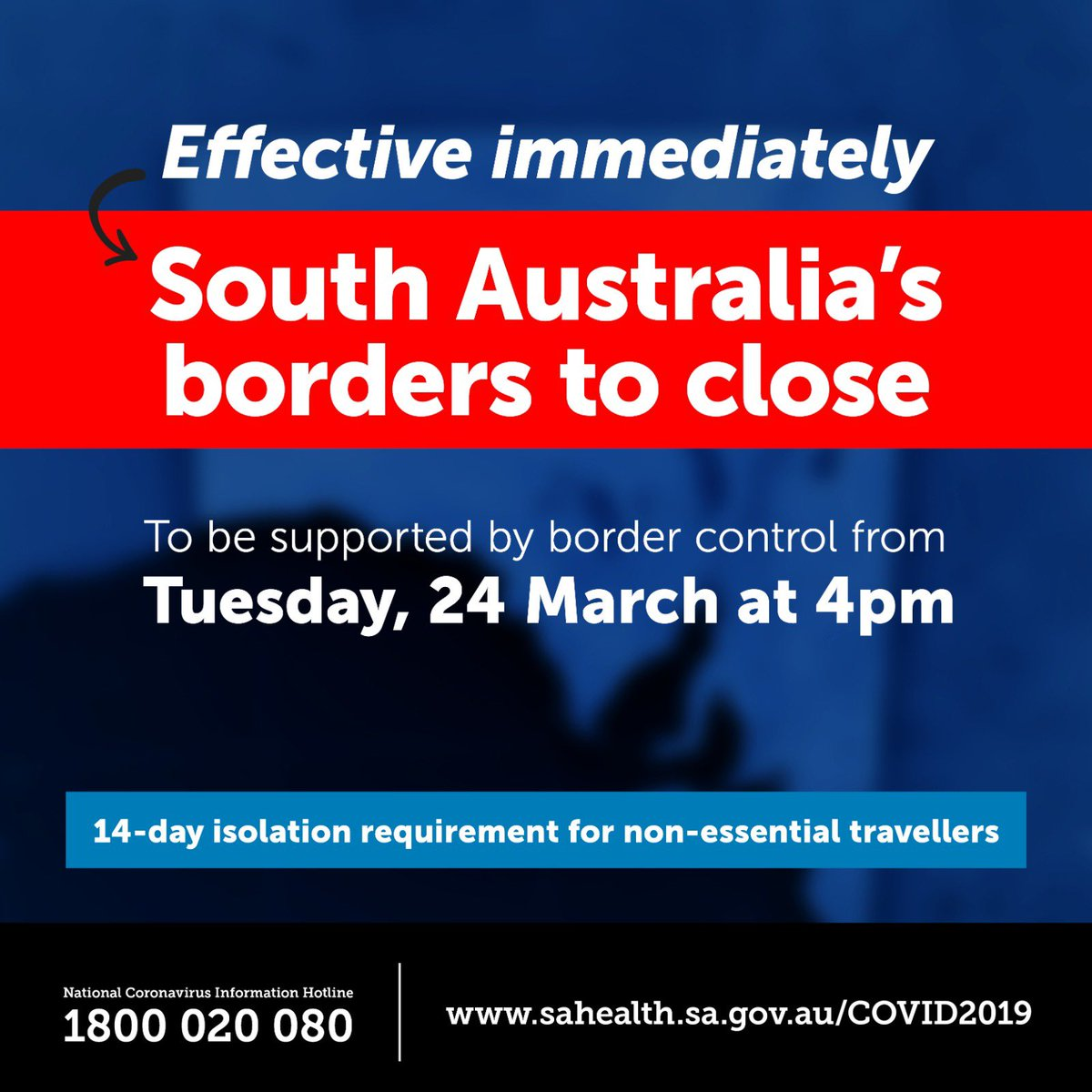 """Steven Marshall, MP on Twitter: """"We've taken decisive action to close South  Australia's borders and extend isolation requirements for non-essential  travellers. These measures will help slow the spread of #coronavirus in  #SouthAustralia"""