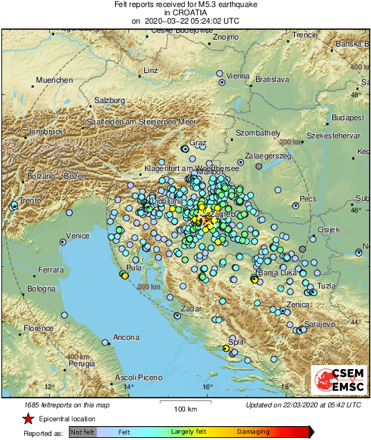 Emsc On Twitter M5 3 Earthquake Potres Strikes 8 Km Ne Of Zagreb Centar Croatia 18 Min Ago Updated Map Of Its Effects
