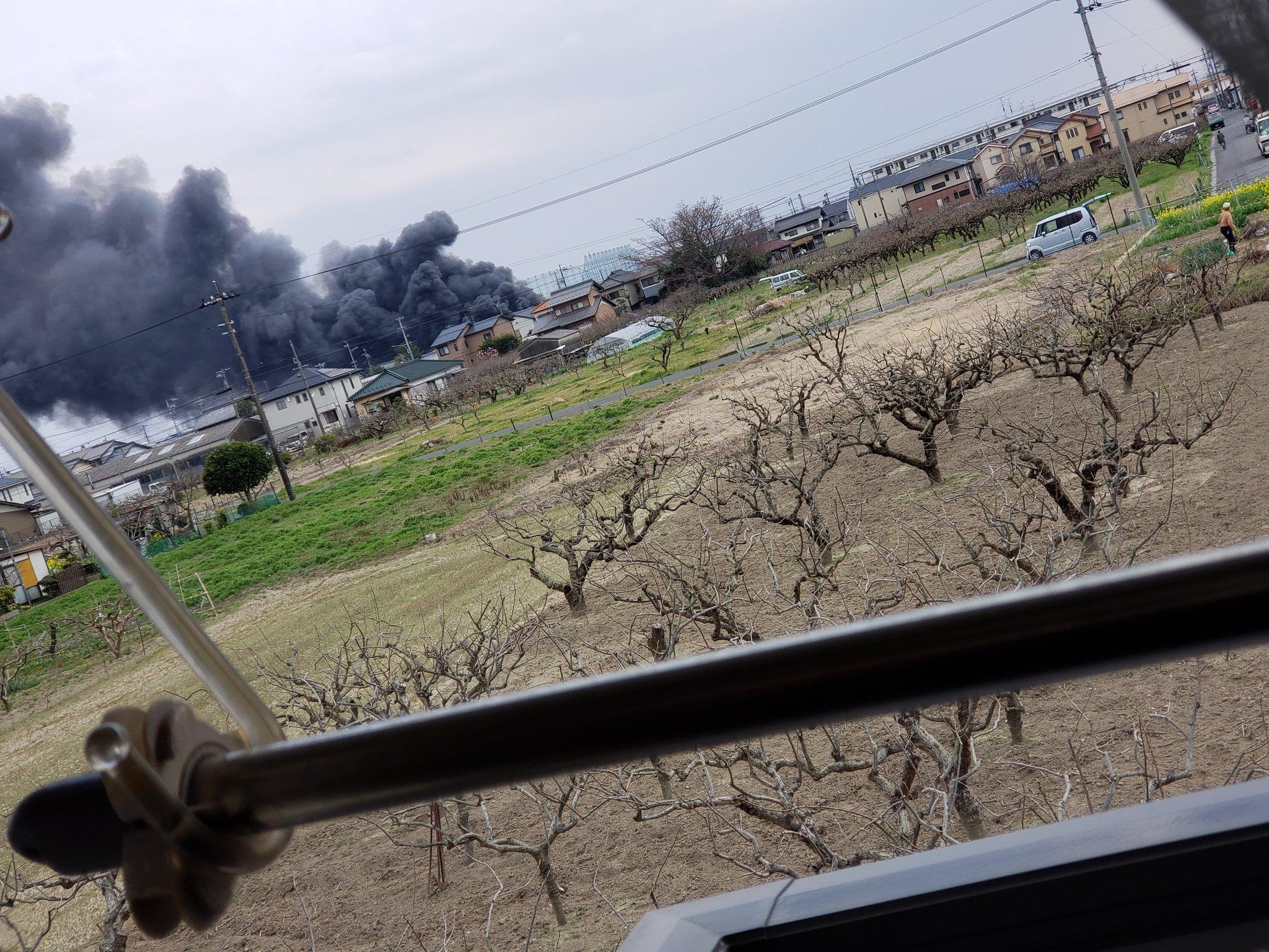 羽島市正木町で大規模火災の現場の画像