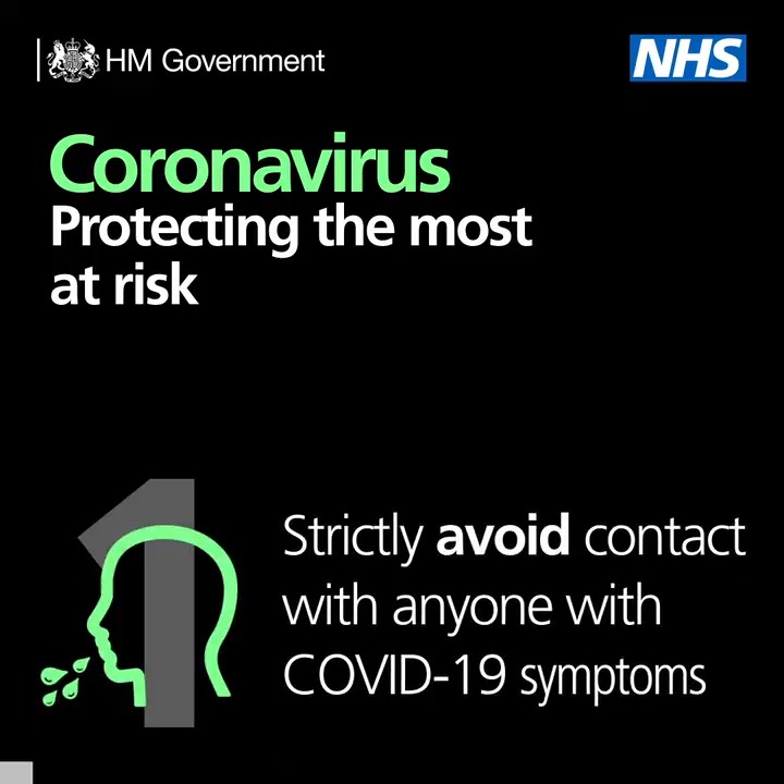 Here's the steps we want those most at risk from #coronavirus to take.  Read the full guidance: https://t.co/RSZ4LpE5sd  People with serious underlying health conditions will be receiving further detailed information from their GP or specialist.