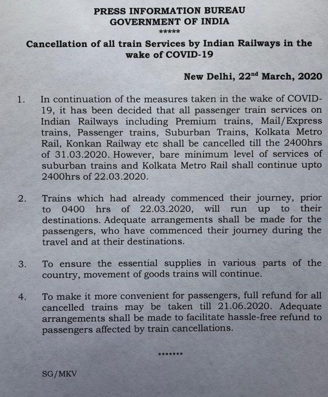 Only goods trains to run till 31st March: Railways