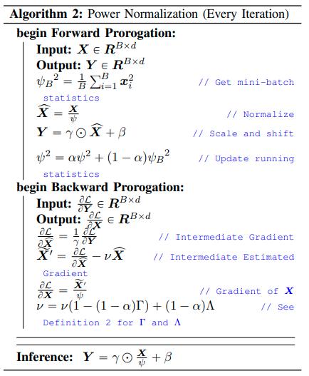 Transformerにバッチ正則化を使用すると精度が悪化する原因は、学習時に各ミニバッチ毎の平均と標準偏差が大きく変動してしまうことだと示した。変動の小さい2乗平均を計算しその移動平均でデータを標準化させることで上記の課題を解決した。各タスクでLNを上回る精度を達成
