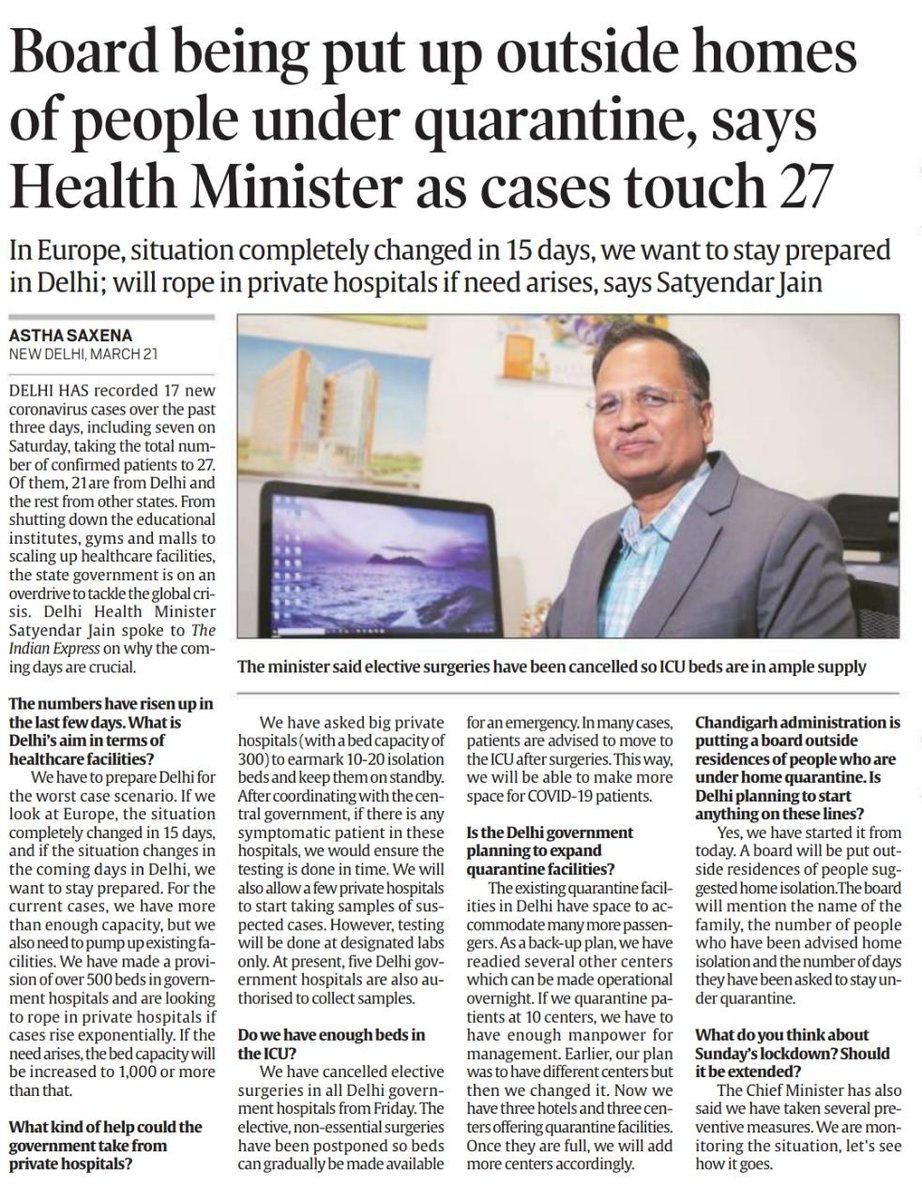 - Do we have sufficient ICUs? - What is the govt doing for the people who are home quarantined? - What are the plans of govt in expanding quarantine facilities? Amid a spurt of 6 new COVID-19 cases, Delhi's health minister @SatyendarJain is here to answer all your questions.
