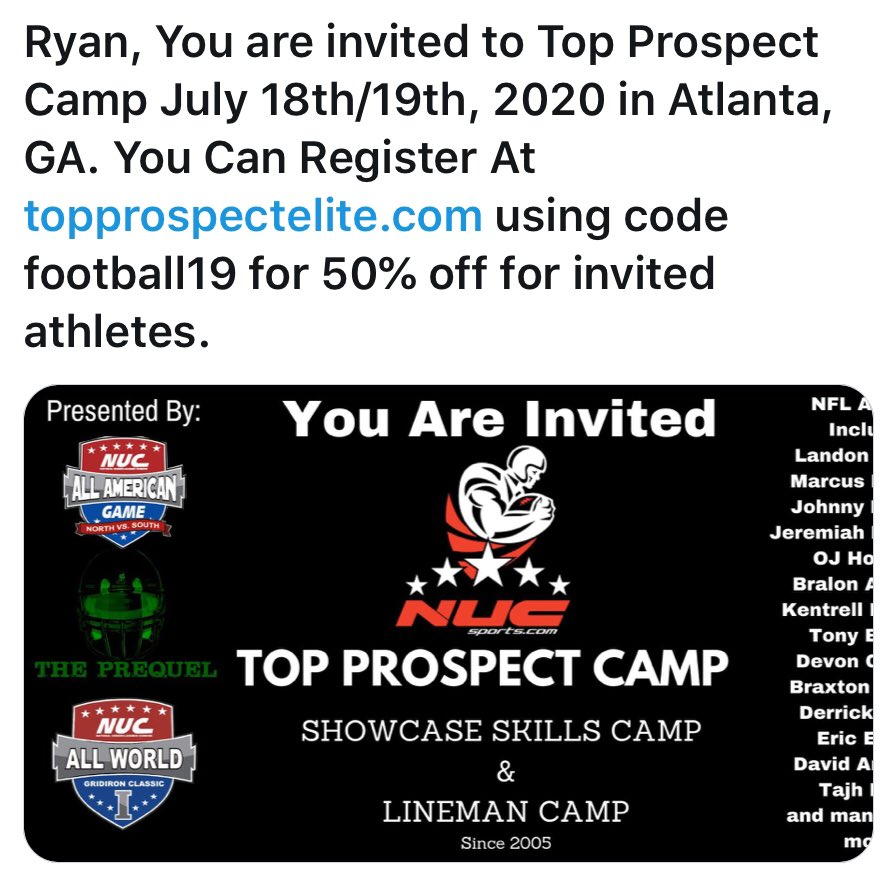 Thank you for the invite to compete @CoachSchuman. #widereciever #classof2023 #playmakerpic.twitter.com/hmq7pD9G5E