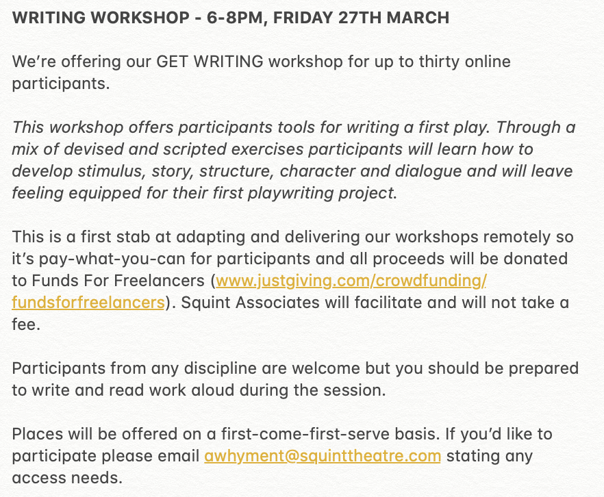 ***ANNOUNCEMENT*** SQUINT WRITING WORKSHOP 6-8PM, FRIDAY 27TH MARCH, ZOOM