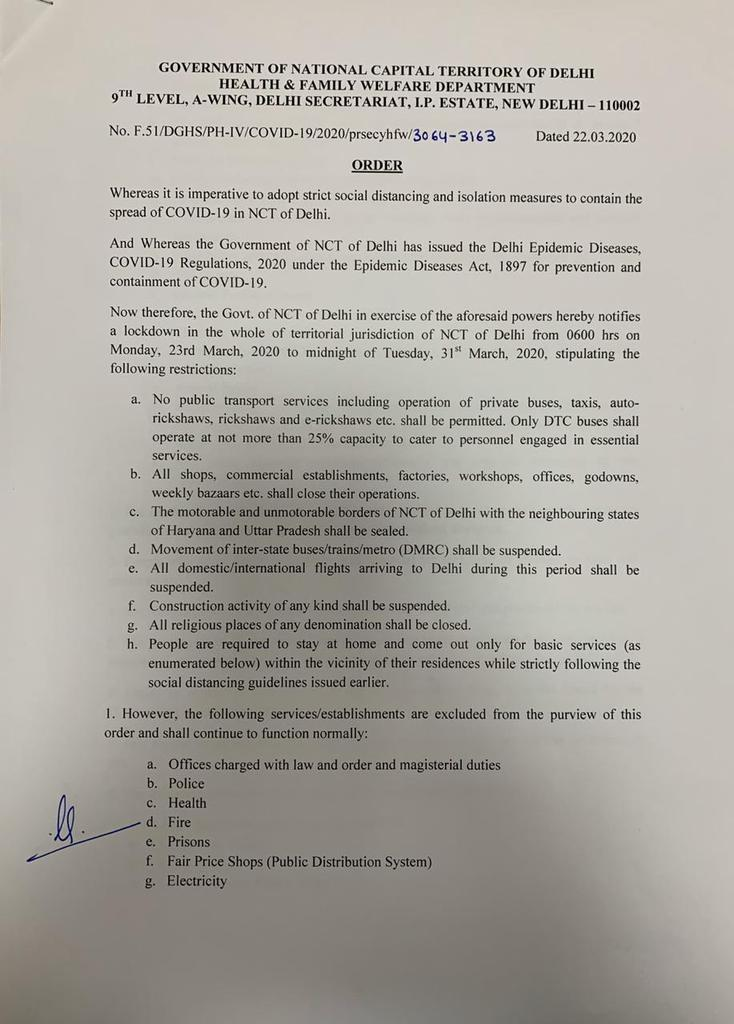 Complete lockdown in Delhi to fight covid 19 from tomorrow morning 6.00am. Only essential services are exempted. All are requested to kindly cooperate to stop the spread of coronavirus