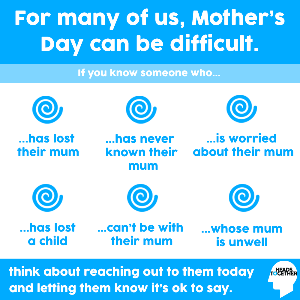 #MothersDay can be a day of mixed emotions for many people. For some, it can be a happy day of celebration, for others it can be difficult and worrying. If you know someone who may be struggling today, reach out to them and let them know youre there. headstogether.org.uk/get-support/