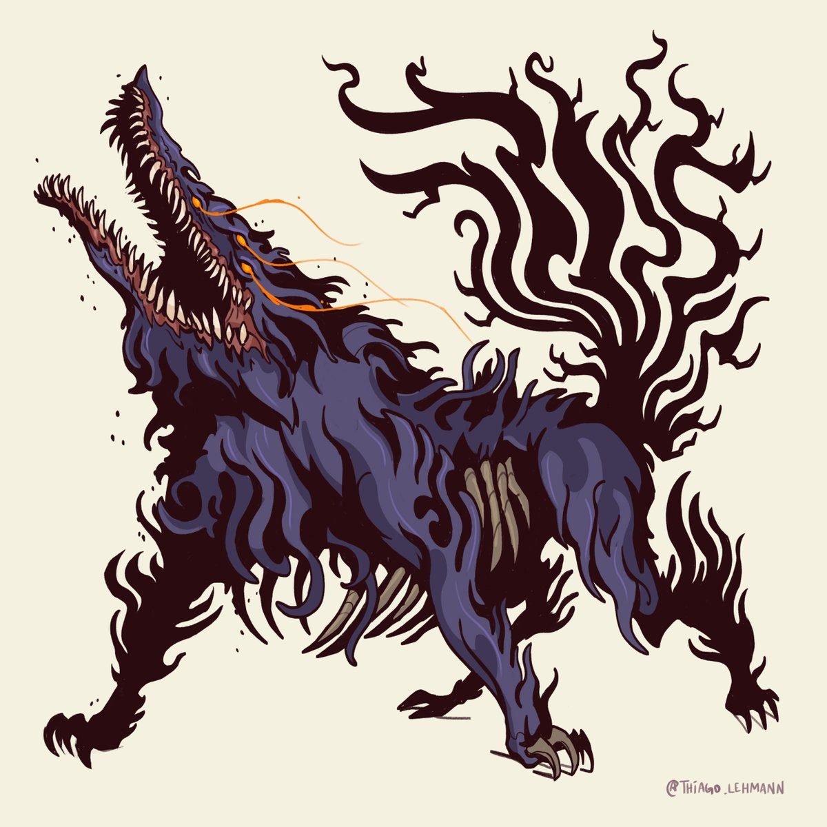 Sulyvahn's Beast - is not a boss, but definetly a harder for than a lot of them. Love his design, reminds me of something out of a Tim Burton's movie.  #darksouls #darksoulsfanart #darksouls3 #darksoulsmemes https://t.co/ubtXCoGO25