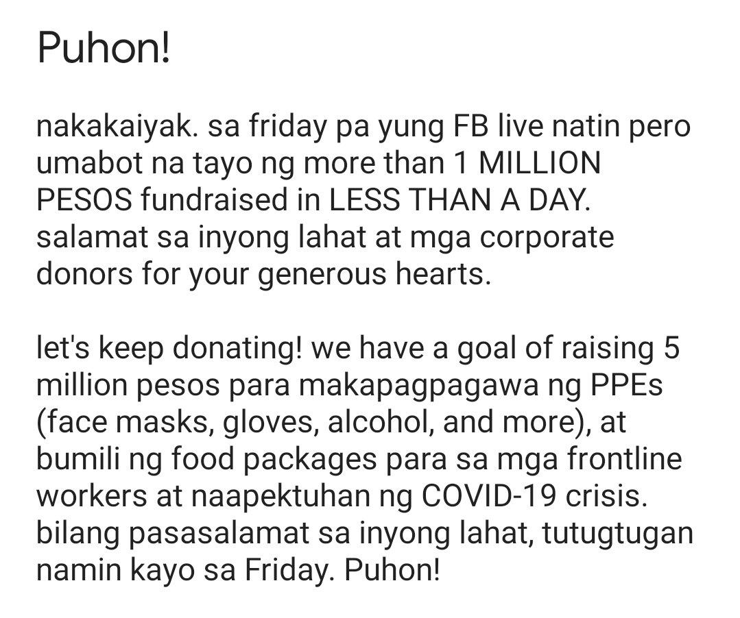 LINK TO DONATE: gogetfunding.com/puhon-a-benben… nakakaiyak. thank you!
