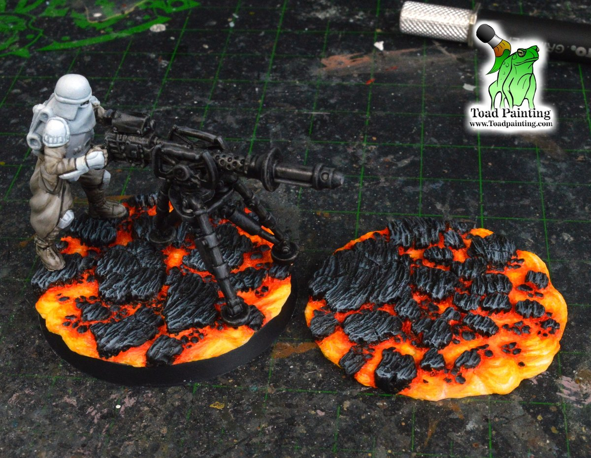 WIP of my two projects in progress. Star Wars legion Heavy Blaster team and Lava bases for Rain City Hobbies you can check out here https://t.co/TChI5HV1zk    #minipainting #miniaturepainting #StarWars #Warmongers #miniatures #warmongers  #Warhammer #40k #warhammer40k #wh40k #aos https://t.co/mhfZs4hysF