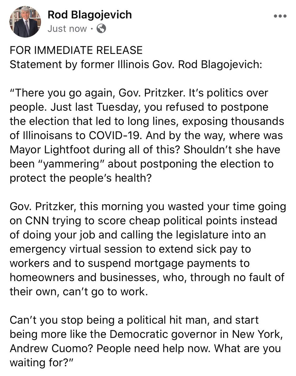 RT @MarkAVargas: FOR IMMEDIATE RELEASE Statement by former Illinois Gov. Rod Blagojevich: @pblagojevich https://t.co/zFHzv6ZzW2