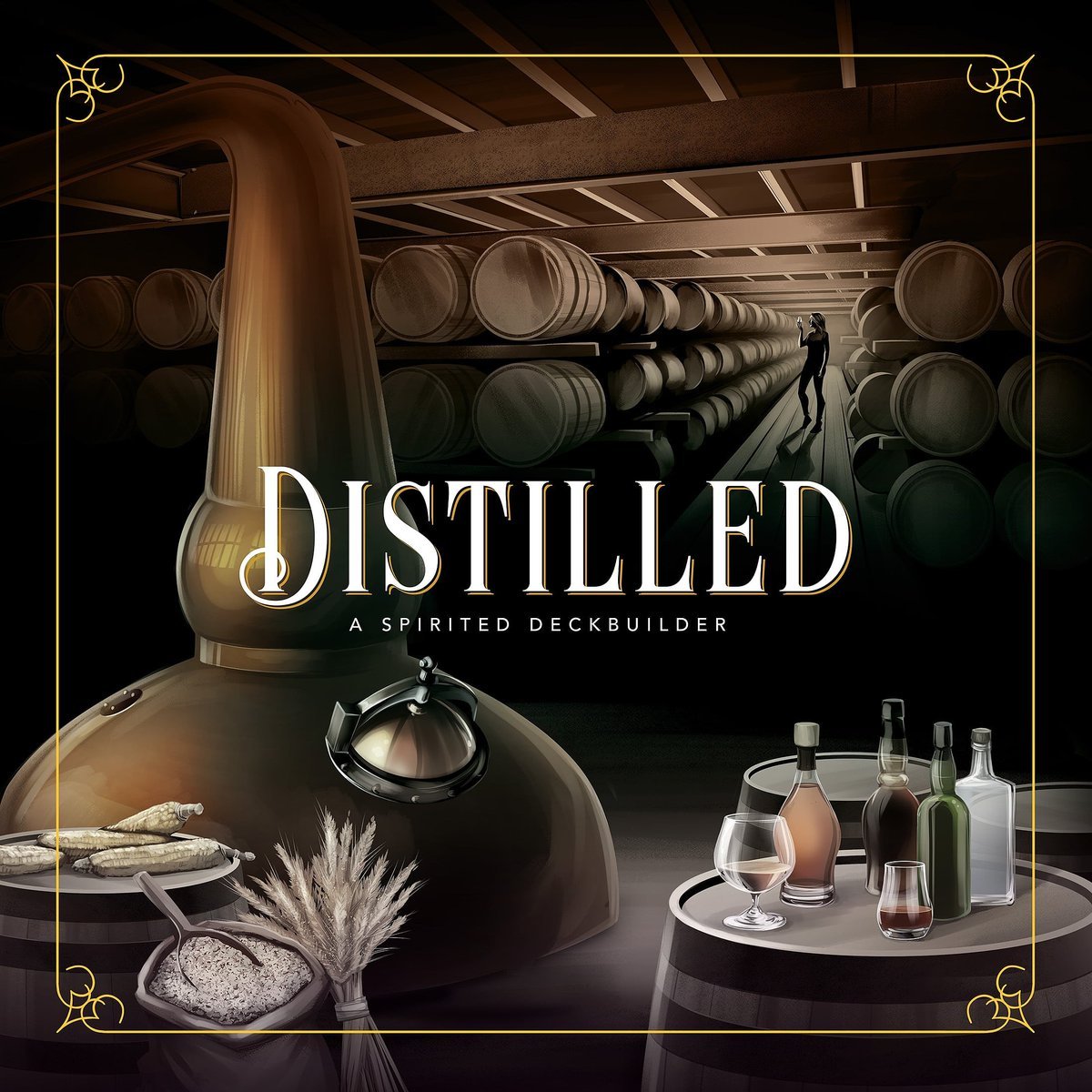 1st peek at @eevensen's #boxart for @distilled_game! What do U think? #distilled #boardgames #bgg #boardgamegeek #boardgame #tabletop #boardgameaddict #tabletopgamer #tabletopgames #tabletopgaming #geek #coverart #gameart #illustration #scotch #whisky #bourbon #distillerypic.twitter.com/oPp4BHxcYH