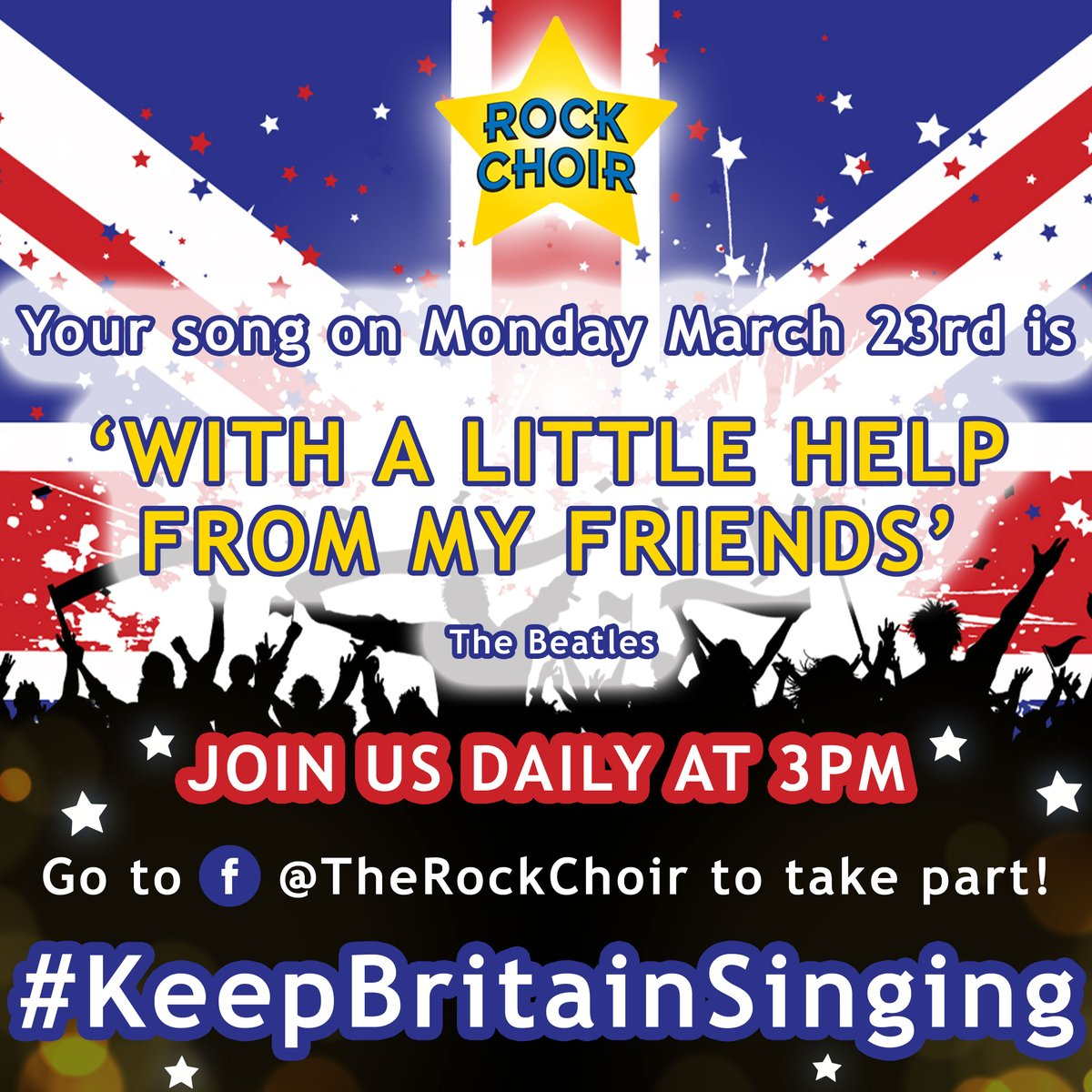 It's time to announce the first song we will be singing with you all tomorrow during our first ever #KeepBritainSinging LIVE at 3pm! 🇬🇧 We are super excited & cannot wait to get started with you all. Visit our latest post  for more info! ⭐ #RockChoir