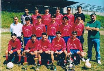 ADR Numancia de Ares. Ángel Mahía con el equipo de cadetes de la temporada 1995-96