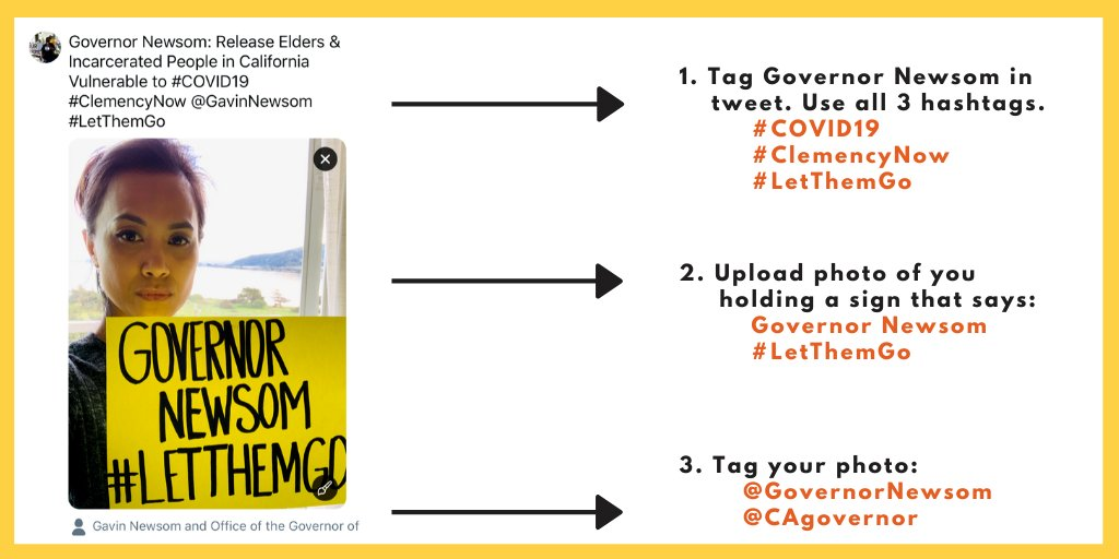 CALIFORNIA: the #COVID19 crisis in prisons, jails & detention centers is escalating fast. 📢Lets get the message to Gov. Newsom LOUD & CLEAR! 📷Follow these instructions to post selfies & demand Gov. Newsom #LetThemGo