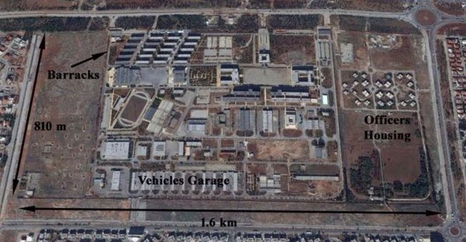 """Iran's #IRGC &Hezbollah recently relocated their #Syria HQ from #Damascus to northern #Aleppo. They emptied out the """"Glass Hours"""" center near Damascus &established a new HQ center at Al-Assad Military Academy some 7km SW of Aleppo center. This compound can accommodate 2000. 📸"""