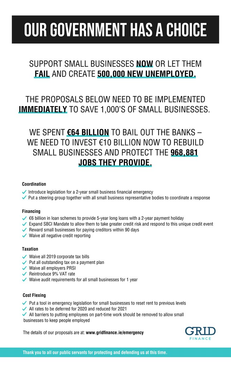 Our ad in the #Businesspost today. The ECB has already moved to stabilise the banks, big business and governments through the market. #smallbusiness need a fiscal response because they don't benefit from market intervention. Our proposals at: https://t.co/C2j8wNVOsd https://t.co/E8YTftPVhZ