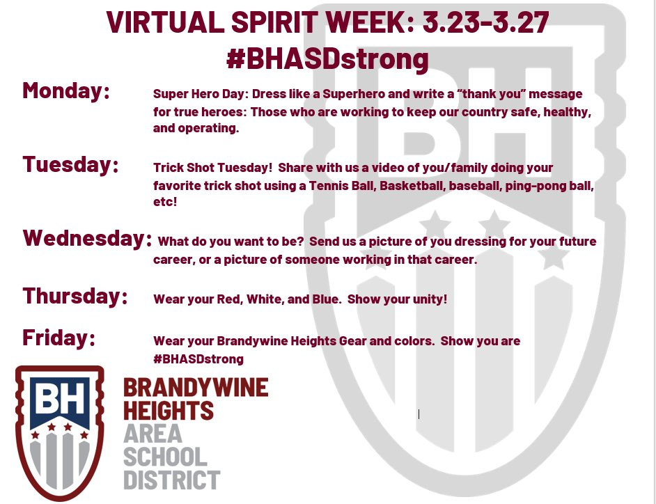 Get ready for our BHASD Spirit Week! #BHASDstrong