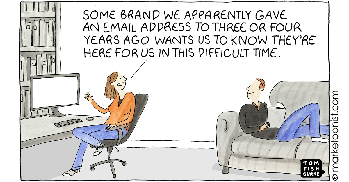 """""""How Not to Communicate Right Now"""" - new cartoon and post https://t.co/8Xaf5Obux6 #marketing #cartoon #marketoon https://t.co/CNYGVQBiiy"""