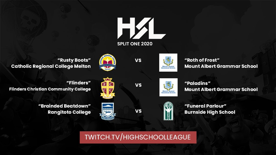 HSL #ClashRoyale Split 1 2020 Week 4 is on in ONE HOUR!   Casted remotely for safety, but still live!  CRC Melton  MAGS MAGS  Flinders CCC Rangitoto College  Burnside HS  @TheRealArkadian + @blendy  4PM AEDT / 6PM NZDT http://twitch.tv/highschoolleague…pic.twitter.com/zF5tNJ3no4