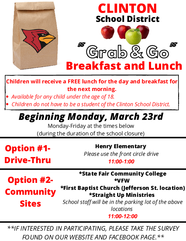 IMPORTANT! Beginning on Mon, 3/23, we will be offering free breakfast and lunch to all children in our community under the age of 18. TAKE THE SURVEY BELOW IF YOUR CHILD WILL BE PARTICIPATING.  https://t.co/d0hGFSRpLK @HenryElementary @CIScards345 @CMSCardinals @CHSCards https://t.co/hsBNTb97hp